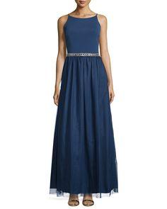 TBQRG Aidan Mattox Sleeveless Embellished-Waist Combo Gown, Navy