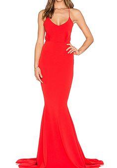 Red dress elegant maxi