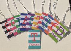 Colorful Stripes Bag Tag  Custom Luggage Tag  by KatyOPaperCo