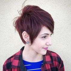 Long Choppy Burgundy Pixie