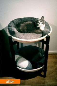 As a rule, I am fully in favor of designing one's living space around the pets, especially if they're cats. That's why I loved this ridiculously easy IKEA hack that turns a neat corner table into a comfortable, two-tiered cat bed.
