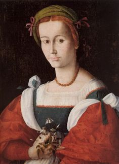 A Lady with a Nosegay ~ ca.1525 ~ by Francesco Ubertini, called Bachiacca (Florence, 1494-1557)