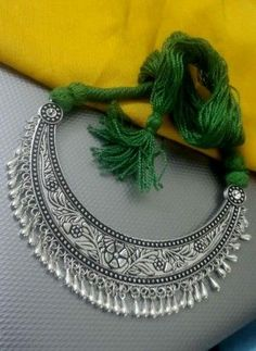 Beautiful german silver neckpiece in green sarafa