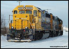 313 power GP38-2 1800 and GP40-2 2202 ready to roll on Cochrane's shop track on a frigid Jan. 29th.