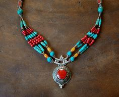 Hippie Ethnic Nepalese Necklace with Turquoise by CosmicNorbu, $170.00