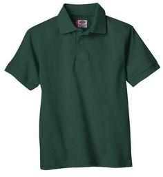 Dickies Big Boys' Short Sleeve Pique Polo Shirt Hunter Green Small (8)