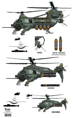 ArtStation - Anti-Submarine Helicopter by Mark Sanwel Spaceship Concept, Concept Ships, Concept Cars, Spaceship Design, Military Weapons, Military Art, Military Aircraft, Future Weapons, Sci Fi Ships