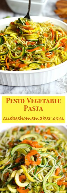 Pesto Vegetable Pasta combines angel hair pasta with spiralized vegetables, and is topped with my homemade pesto sauce. A healthy pasta recipe!