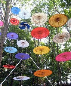 .Floating in the air Parasols.             t
