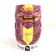Emeralda Excalibur Tiki Polynesian Purple Yellow Ceramic Coffee Tea Cup Mug