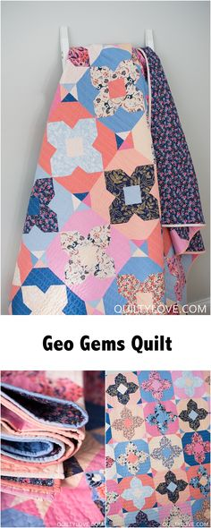 Geo Gems quilt pattern by Emily of quiltylove.com. Modern solids quilt is fat quarter friendly. Modern quilt patterns for the modern quilter. #quiltylovepatterns #quiltpattern #modernquilting