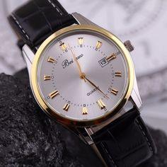 Elegantní pánské hodinky s černým koženým páskem a bílým ciferníkem +  POŠTOVNÉ ZDARMA Na tento produkt e2dbd5d17f9