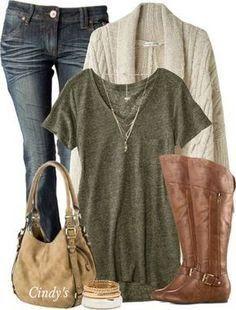 Long cream cardigan, military green t-shirt, skinny jeans, camel riding boots, beige handbag