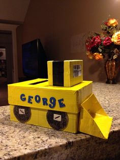 My Boy's Valentine's Day box! Bull dozer back hoe construction vehicle! Love this!