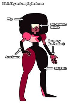 Costume Guide - Garnet's costume is the trickiest one to pull off, but here are some ways to improvise and simplify it Cosplay Diy, Halloween Cosplay, Best Cosplay, Halloween Costumes, Cosplay Ideas, Costume Ideas, Garnet Steven Universe Cosplay, Steven Universe Gem, Hero Costumes