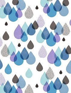 Rain Drops, Illustration Art, Doodles, Room Decor, Weather, Clouds, Quilts, Music, Blue