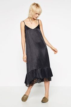 Consider this a blank slate for killer accessories.Zara Frilled Camisole Dress, $49.90, available at Zara. #refinery29 http://www.refinery29.com/2016/06/114267/slip-dresses-summer-2016#slide-15