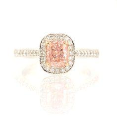 Pink Diamond Ring, Fancy Light Pink Pave Mill-grain halo ring, 1.02 Carat