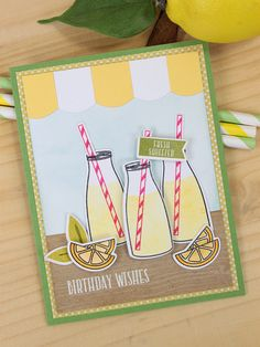 Fresh sSqueezed Birthday Wishes. Dawn Woleslagle for Wplus9 featuring Milk & Cookies stamp set and dies.