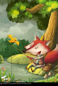 Fishing Fox by Tony Zheng | 2D | CGSociety