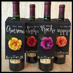 Wine Bottle Gift Tags  Hand Lettered  Handmade by FlowerGirlStacy