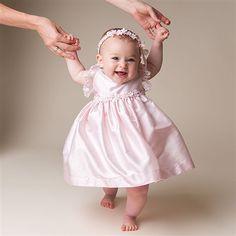 Infant Girl Pink Silk Dress - Leila Christening & Baptism Collection