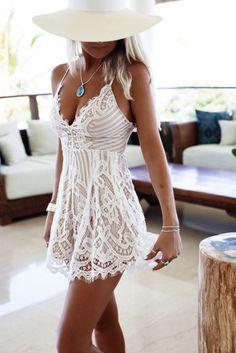 Robe d'été en dentelle assez transparente ❤