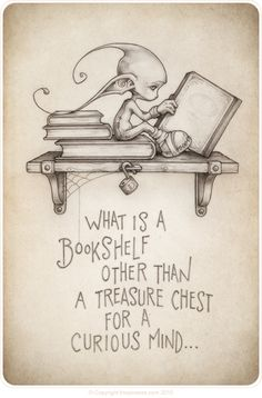 Bookshelves and their treasure. by the Picsees (www.thepicsees.com) Books cute pixies reading                                                                                                                                                                                 More