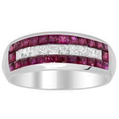 Artistry Collections 14k White Gold 2/5ct TDW Diamond and 1 4/5ct TGW Ruby Ring