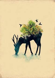 nice illustration style deer and bird tattoo. I like the black deer and birds. The color area tree and forest looks great. Art And Illustration, Illustrations And Posters, People Illustration, Illustration Fashion, Mononoke Forest, 42 Tattoo, Stag Tattoo, Tattoo Bird, Tattoo Thigh