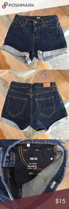 UO BDG Mid Rise Jean Shorts, size 25 UO BDG Mid Rise Alexa Jean shorts in size 25. Rise is 8.5 and cuffed inseam is 2.5. Made from 99% cotton and 1% spandex. Please ask if you have any questions. Urban Outfitters Shorts Jean Shorts