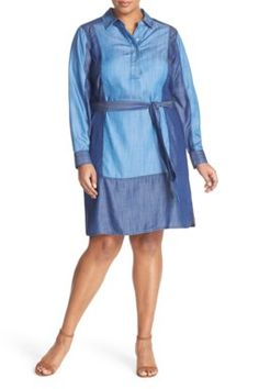 12/2/16  Brand/Designer: Foxcroft Print: Two-Toned Material: Denim Dress Silhouette: Shirtdress Shoulder: Long Sleeves Embellishments: Belted Colorblocking Slit Machine Wash Cold Line Dry Size Category: Plus Size