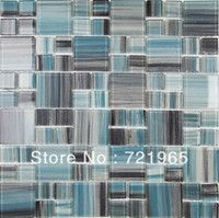 Yes Light Grey,Blue,Black,Light Green,Multi, Modern Glass mosaic for swimming pool tile CGMT098 deco mesh glass mosaic kitchen backsplash ti...