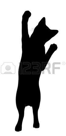 Chat noir art illustration silhouette sur un fond blanc Banque d'images #CatSilhouette