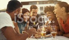What's better than a night with friends and good food? royalty-free stock photo