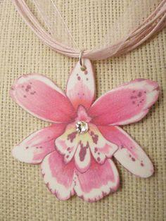 Orchid Necklace Pink Organza Shrink Art Handmade by MeadowArtShop, $14.00