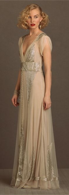 BHLDN Vintage Inspired Wedding Dress with Sequins and Puffed Sleeves