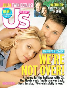 Jessica Simpson and Nick Lachey pose on the December 13, 2004 cover of 'Us Weekly' magazine