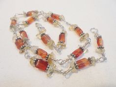"""Vintage Glass Necklace Sterling Silver Signed 925 *11 Grams* 15"""" Choker / Collar 1980's BOHO Statement Runway"""