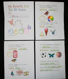 Butterfly Literacy Activity:   My Butterfly and the 3D Shapes... literacy and math!