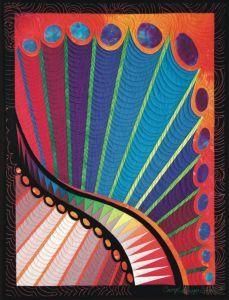 """Feather Study #16 • 24"""" x 18"""" • Copyright © 2001 Caryl Bryer Fallert • www.bryerpatch.com"""