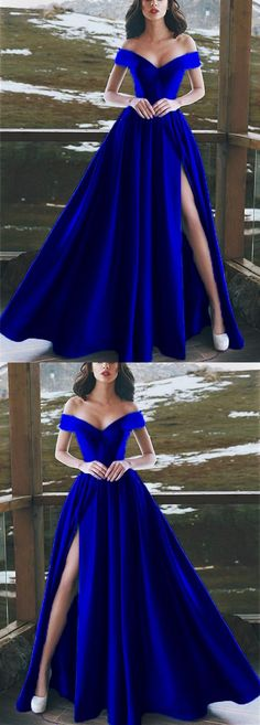 Elegant V-neck Off The Shoulder Long Satin Royal Blue Prom Dresses