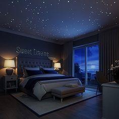 CHARLLEAN 252 Leuchtpunkte und Mond für Sternenhimmel , Wandsticker Leuchtaufkleber, Fluoreszierend und im Dunkeln leuchtend, Extra Starke Leuchtkraft