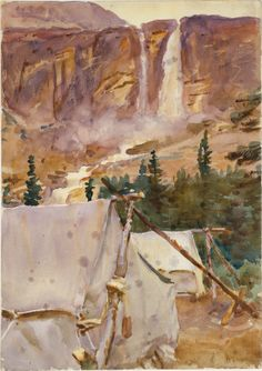 Camp and Waterfall, 1916, John Singer Sargent