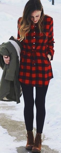 #winter #fashion / Tartan Plaid Dress / Black Leggings / Brown Booties