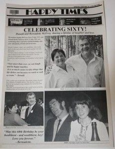60th Birthday Personalized Newspaper from NewsFavor.com Front Page (Contact info@newsfavor.com)