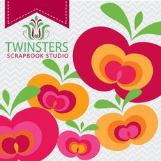 Red apple png digital clipartTW009  INSTANT DOWNLOAD by Twinsters, $2.50