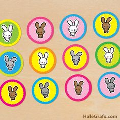 easter bunny cupcake top FREE Printable Kawaii Easter Bunny Cupcake Toppers