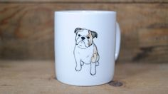Hand painted animal mug  - Cute mug cup - dog mug cup - dog mug -English Bulldog dog by CreativeStoneCera on Etsy