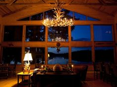 Antler chandelier | The great room at Angoon's Favorite Bay Lodge.
